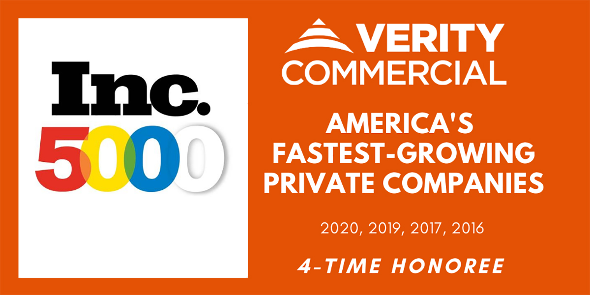 For The 4th Time Verity Ranks On Inc 5000 Fastest Growing Companies In America List Verity Commercial